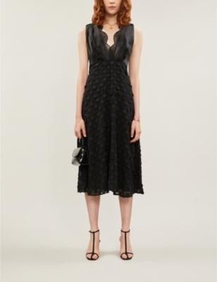 Leni jacquard polka-dot satin and crepe midi dress
