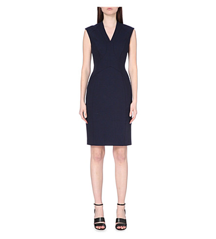 REISS Delo panel-detail wool-blend dress (Night+navy