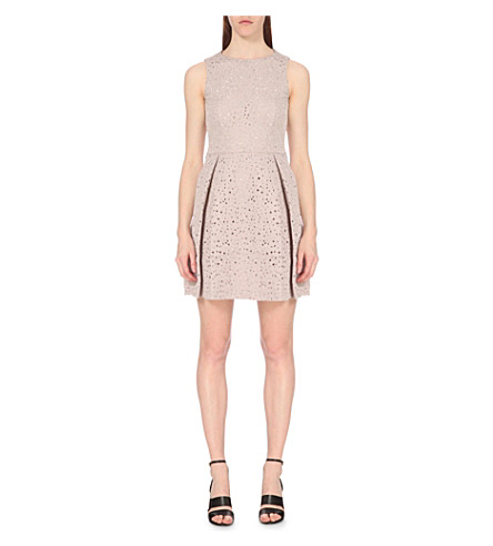 REISS Juniper laser cut dress (Ice+rose