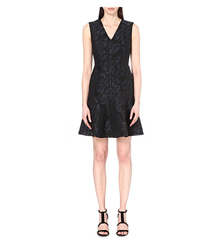 REISS Saffy drop-waist jacquard mini dress (Night+navy