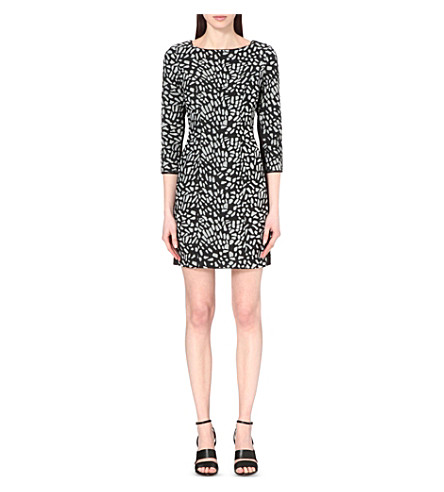 REISS Janie printed cotton-blend mini dress (Black/white