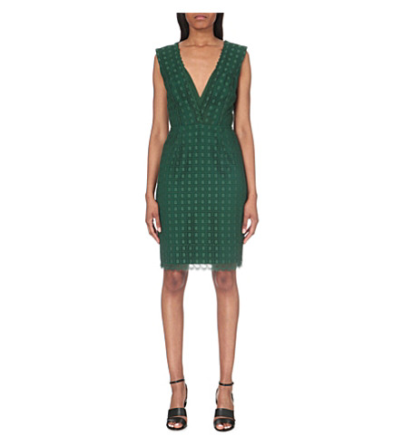 REISS Eris cotton-blend dress (Emerald green