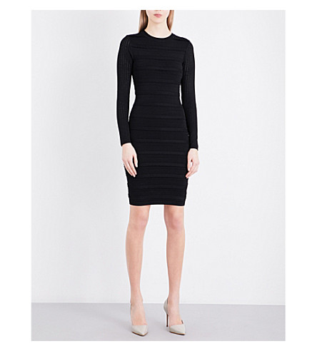 REISS Jenkins panelled knitted dress (Black