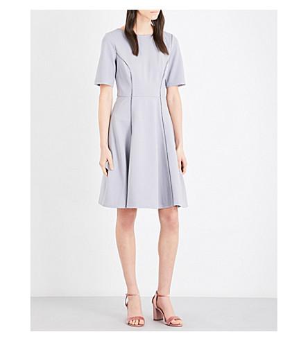 REISS 提安娜乡村弹力平纹针织连衣裙 (色 + 蓝