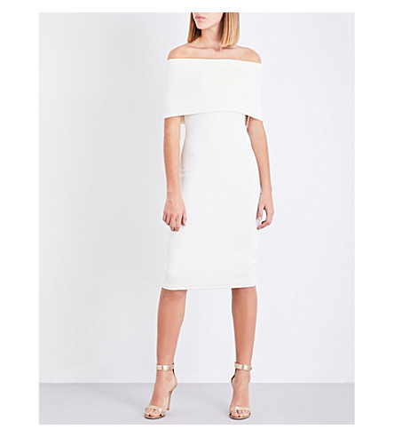 REISS Rafferty off-the-shoulder crepe dress (Off+white