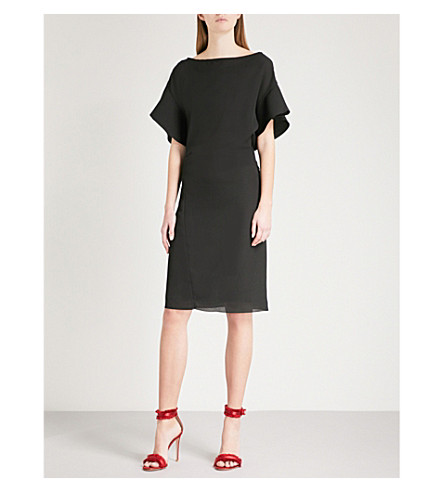 REISS Manila flared-sleeve crepe dress (Black