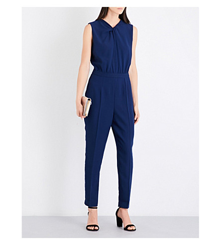 REISS Leoni knot-detail crepe playsuit (Ink