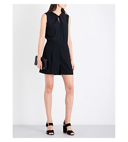 REISS Viola knot-twist woven playsuit (Black