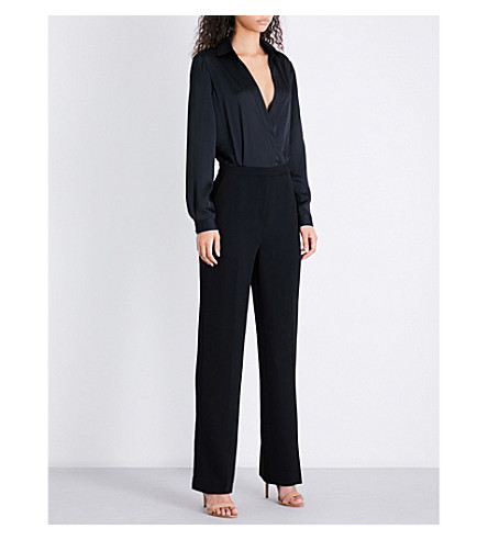 REISS Imie wrap-front crepe jumpsuit (Black