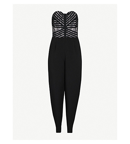 REISS Ciara tapered-leg crepe and lace jumpsuit (Black