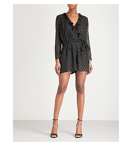 REISS Cuba metallic fil-coupé playsuit (Black