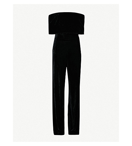 REISS Tami off-the-shoulder velvet jumpsuit (Black