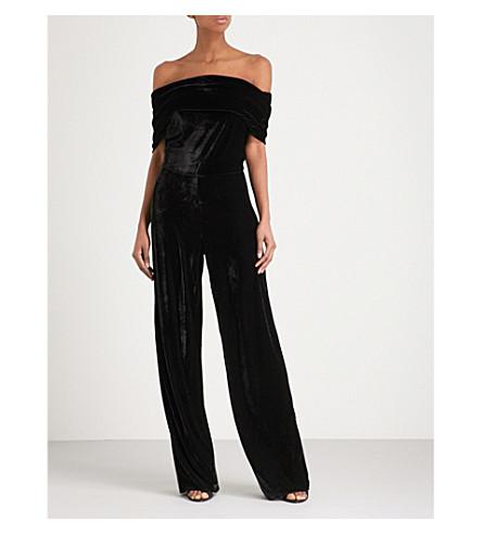 REISS Tami off-the-shoulder velvet jumpsuit (Black