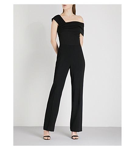 REISS Perla asymmetric woven jumpsuit (Black