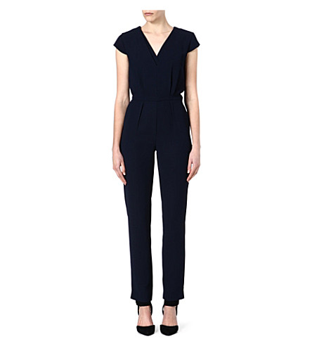 REISS Monica plain-tuxedo jumpsuit (Blue