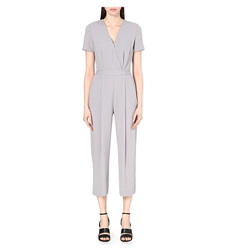 f97021375f2 REISS Corsico cropped crepe jumpsuit on PopScreen