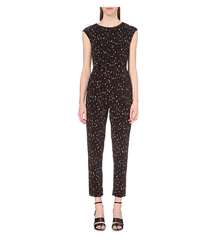 REISS Davis cocoon-print jumpsuit (Deep+grape/off