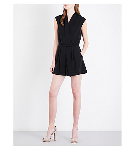REISS Louise wrap-front woven playsuit (Black