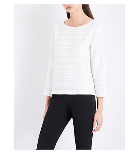 REISS Mandy woven top (Off+white