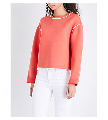 REISS Gaia cotton-jersey sweatshirt (Lotus+red