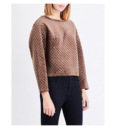 REISS Nia quilted velvet jumper (Bronze