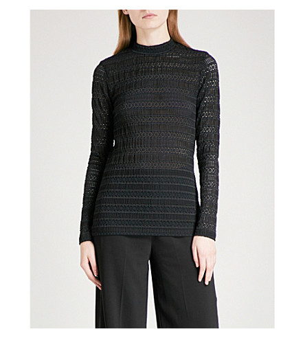REISS Tullulah stretch-knit top (Black