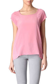 REISS Posy silk-front t-shirt