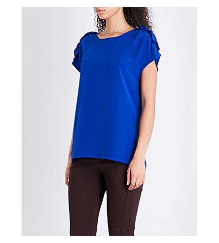 REISS Natalie ruffled-trim silk top (Ocean+blue