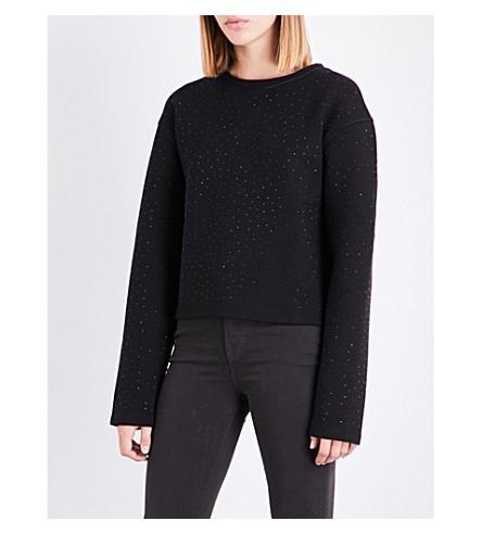 REISS Leia studded jersey sweatshirt (Black