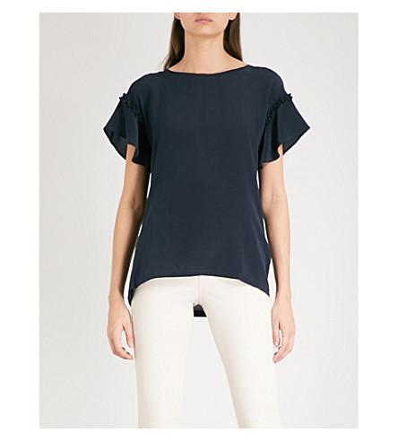 REISS Waterfall-sleeve silk T-shirt (Night+navy