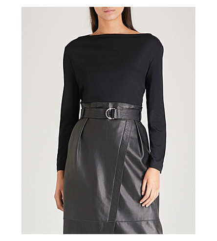 REISS Marilyn jersey top (Black