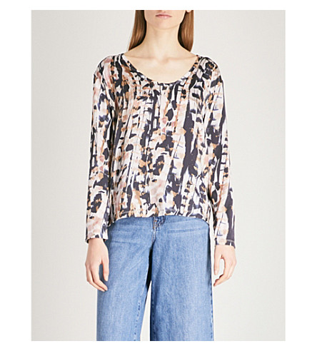 REISS Helena printed silk and jersey top (Multi