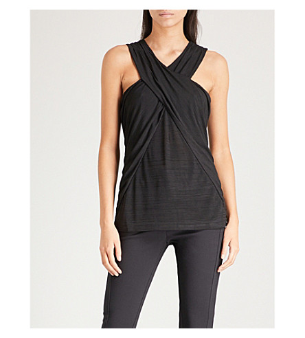 REISS Bea crossover-front woven top (Black