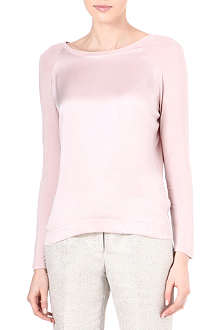 REISS Lily silk and jersey top