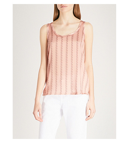 REISS Remy stretch-silk vest top (Multi