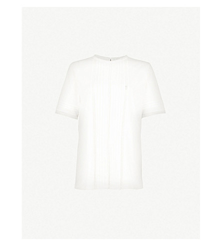 REISS Lace-trimmed cotton top (Floral white