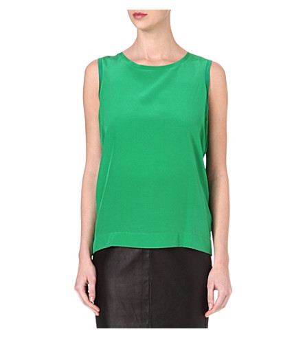REISS Kali silk and jersey top (Green