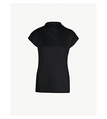 REISS 状平纹针织上衣(黑色)