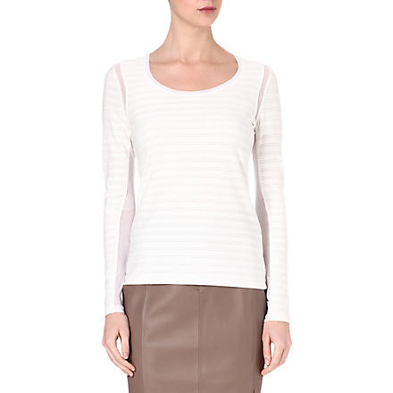 REISS Minzi striped jersey top (Ivory