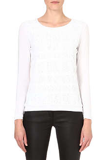 REISS Misha lace-front top