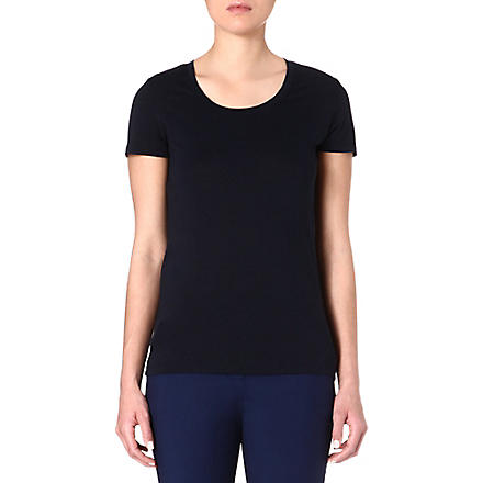 REISS Scoop-neck cotton-blend t-shirt (Blue