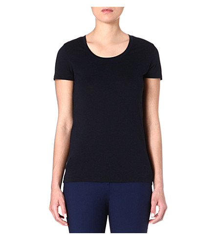 REISS Scoop-neck cotton-blend t-shirt (Blue