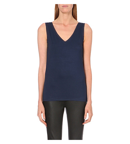 REISS Ona v-neck stretch-jersey top (Navy