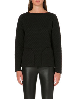 REISS Quilted boat neck jumper