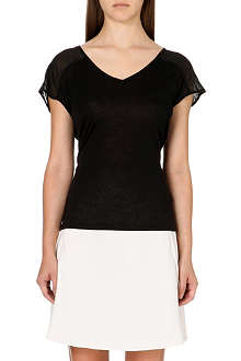 REISS Breeze sheer-detail jersey t-shirt