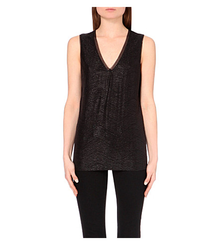 REISS Ona metallic vest top (Black+metallic