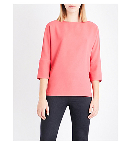 REISS Bells button-detail crepe top (Lotus+red