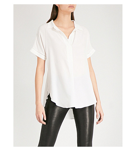 REISS Palma silk-crepe de chine blouse (Off+white