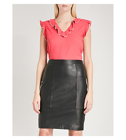 REISS Rosa crepe blouse (Lotus+red