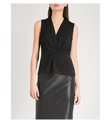 REISS Farah twisted-detail woven top (Black